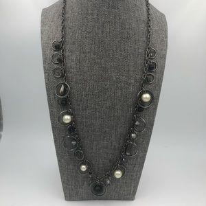 NY & Co. Gunmetal Pearl & Crystal Charm Necklace